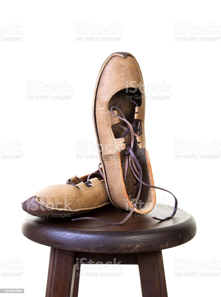 hand made shoes on stool royalty-free stock photo