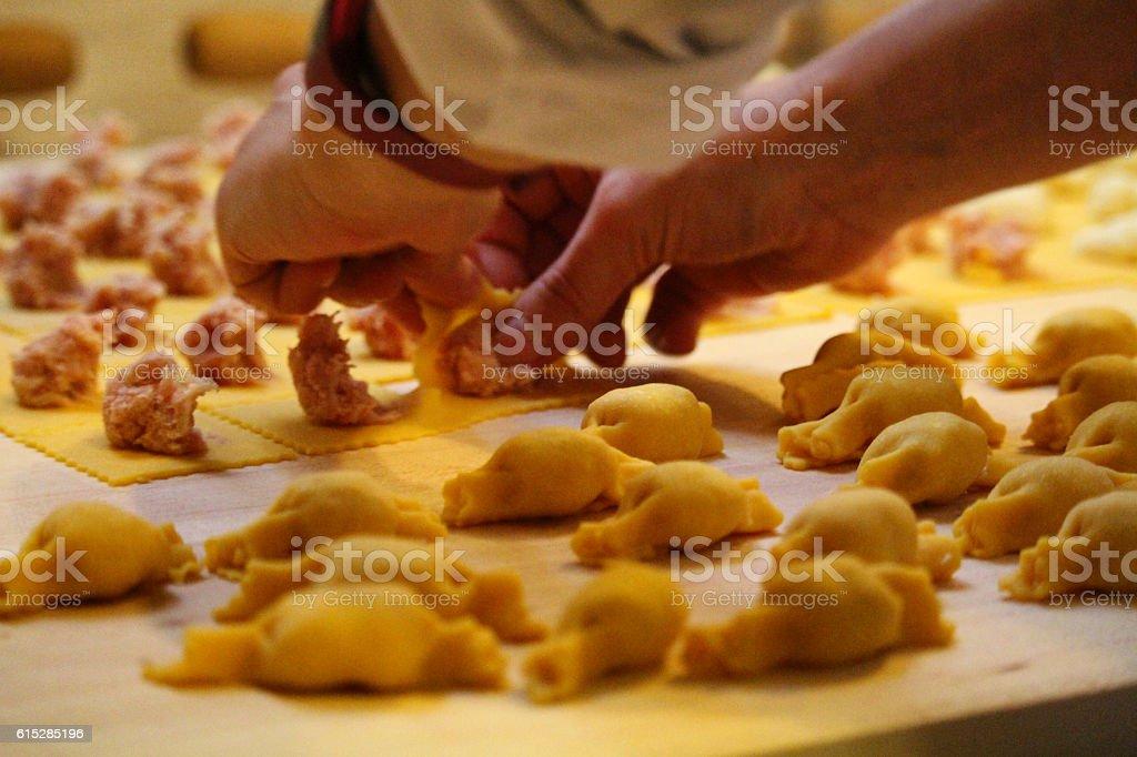Hand made tortelloni stock photo