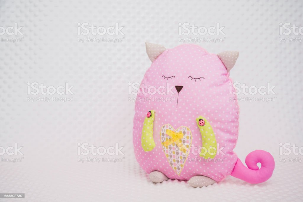 hand made toys on a table stock photo
