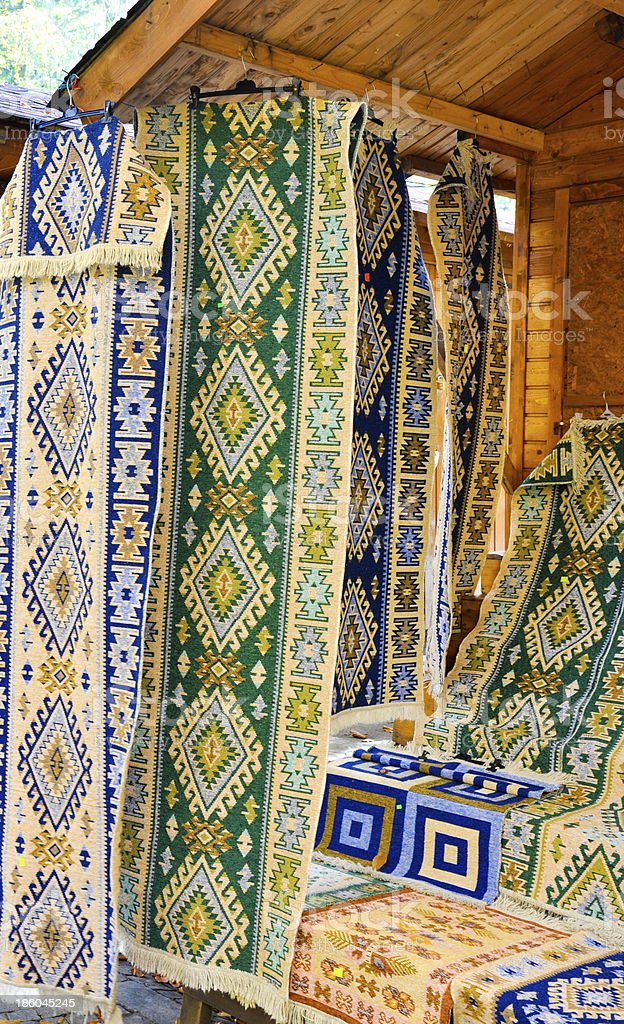 hand made traditional carpets royalty-free stock photo