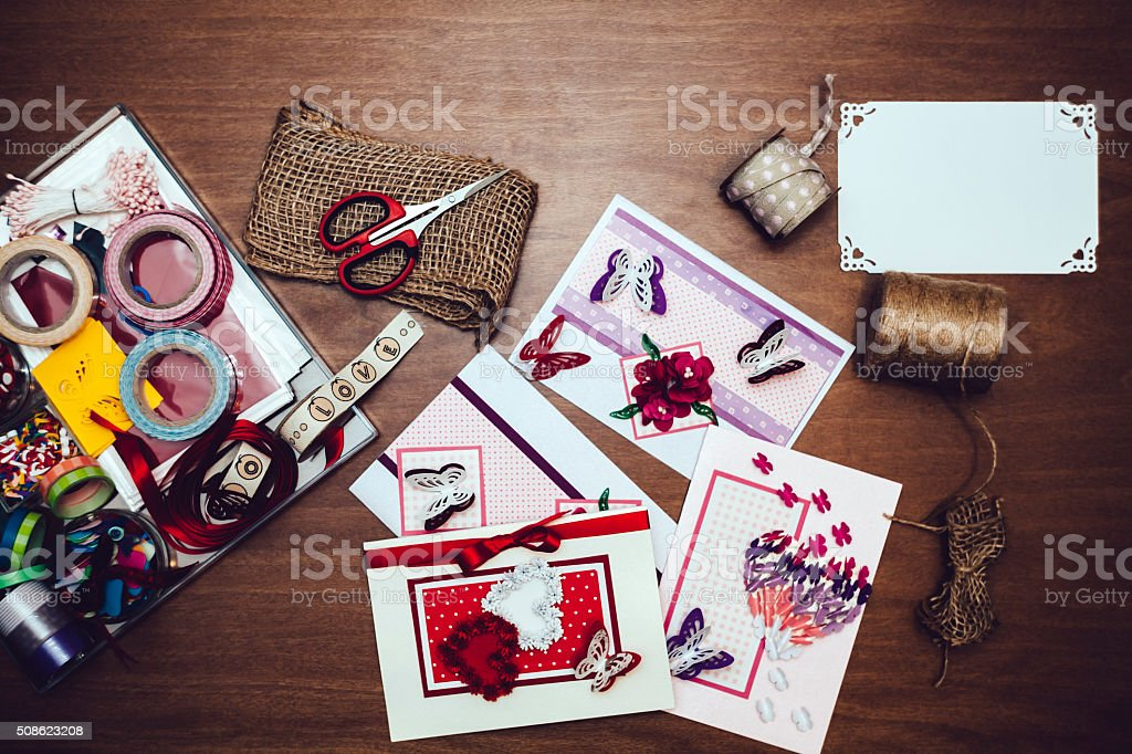 Hand Made Valentine`s Day cards stock photo