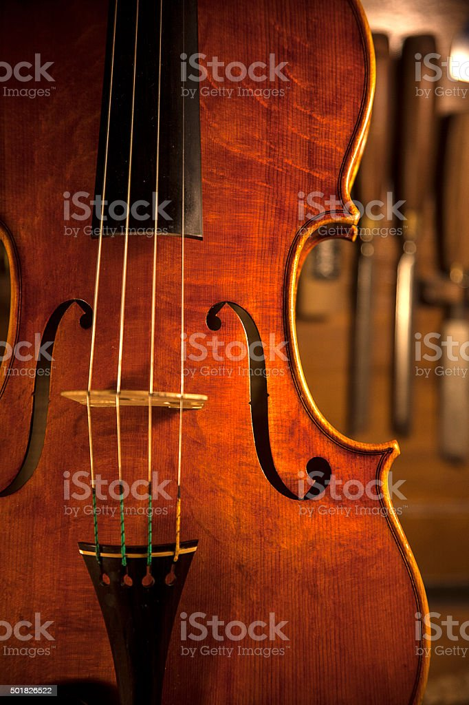 hand made violin stock photo