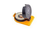 Hand magnetic compass on a light background