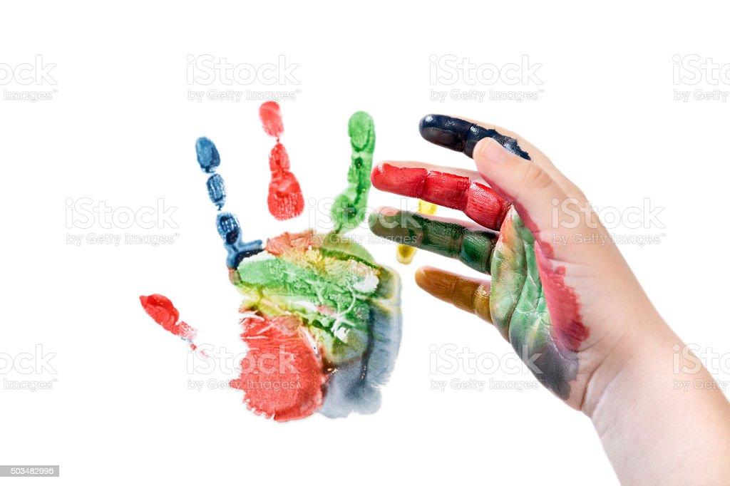 Hand makes an imprint stock photo