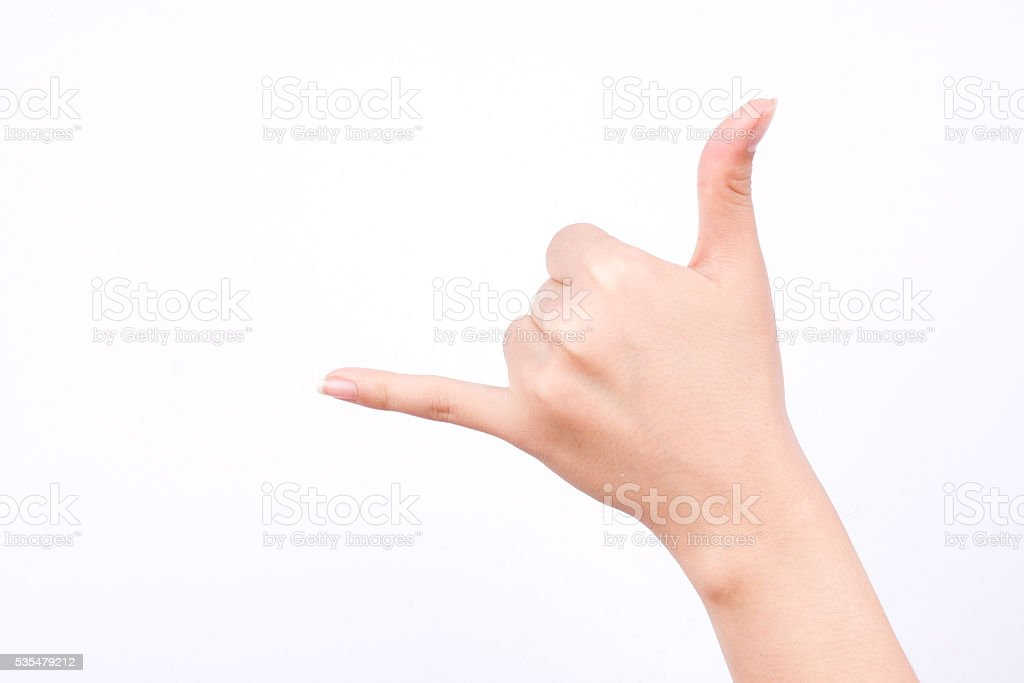 hand making a call phone me gesture sign stock photo
