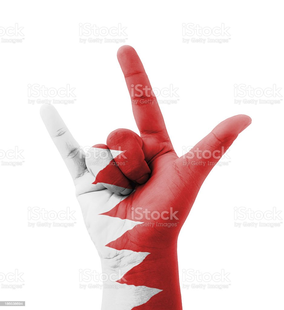 Hand making I love you sign, Bahrain flag painted royalty-free stock photo