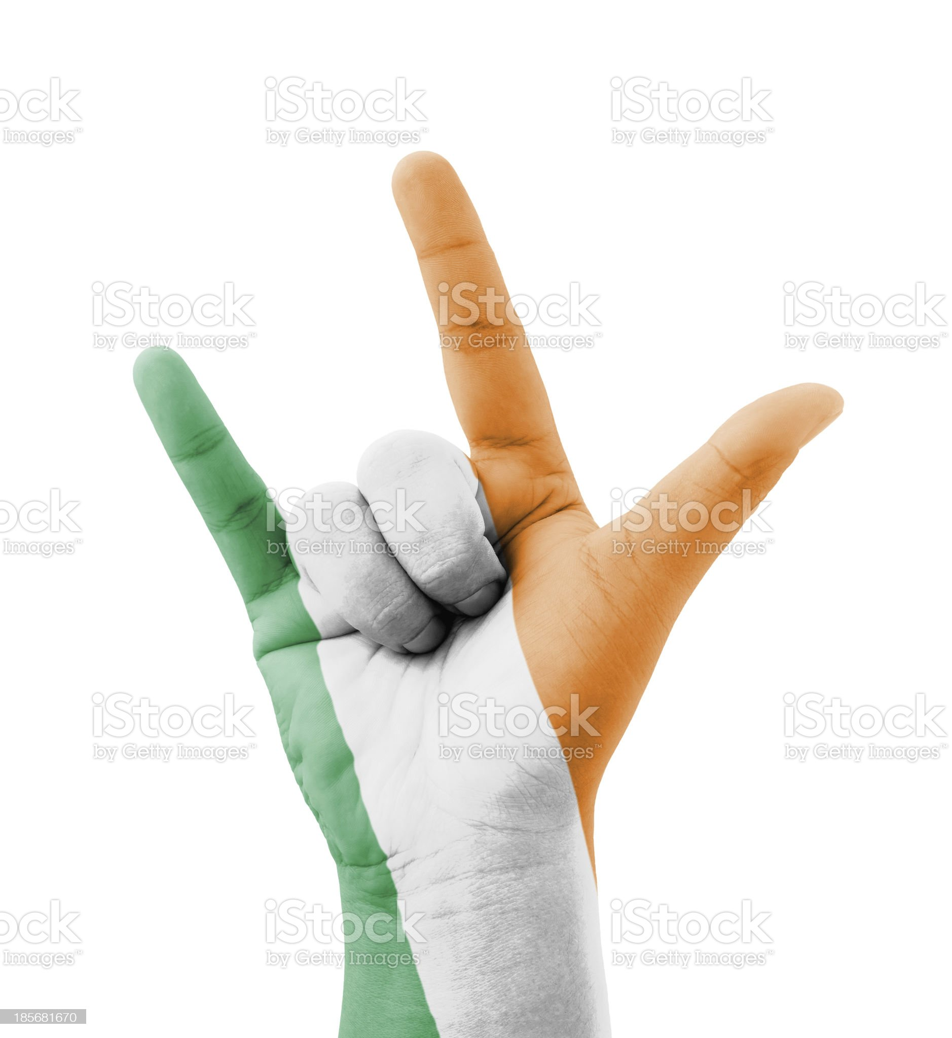 Hand making I love you sign, Ireland flag painted royalty-free stock photo