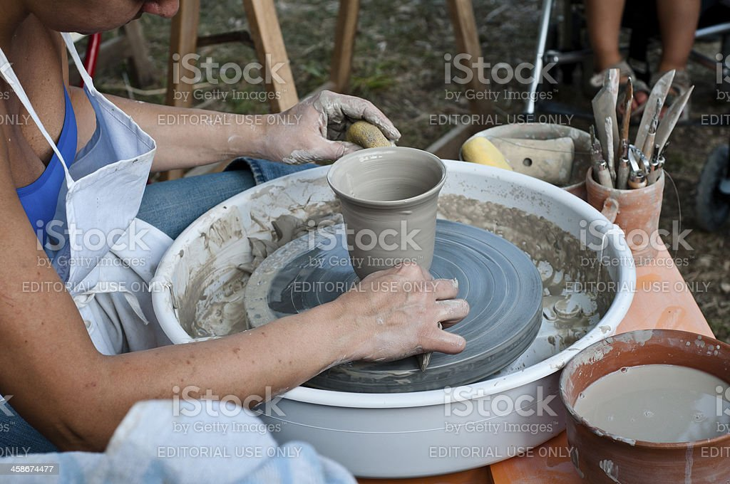 Hand making of a pottery vase stock photo