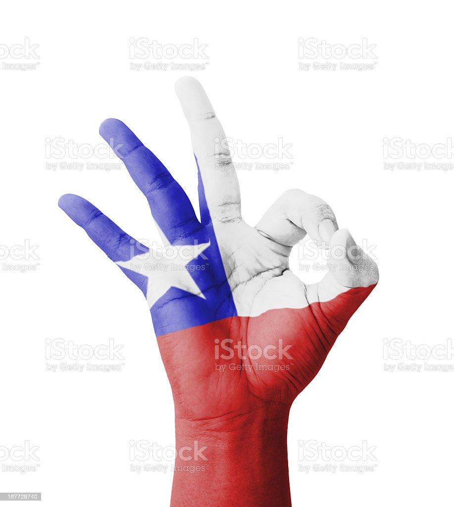 Hand making Ok sign, Chile flag painted stock photo
