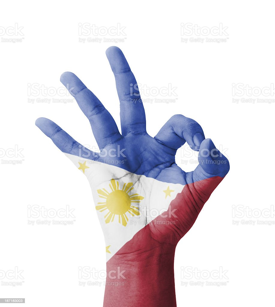 Hand making Ok sign, Philippines flag painted stock photo