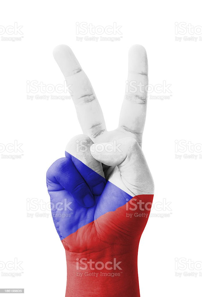 Hand making the V sign, Czech Republic flag painted royalty-free stock photo