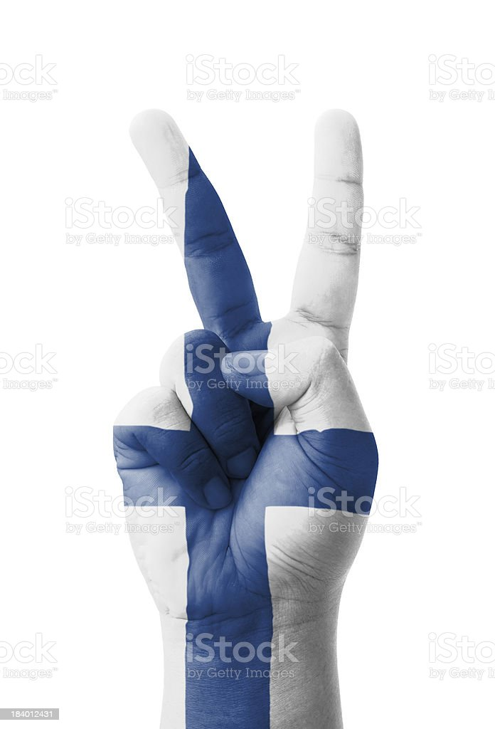 Hand making the V sign, Finland flag painted royalty-free stock photo