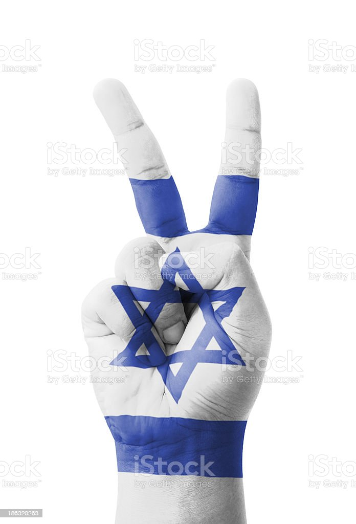 Hand making the V sign, Israel flag painted royalty-free stock photo