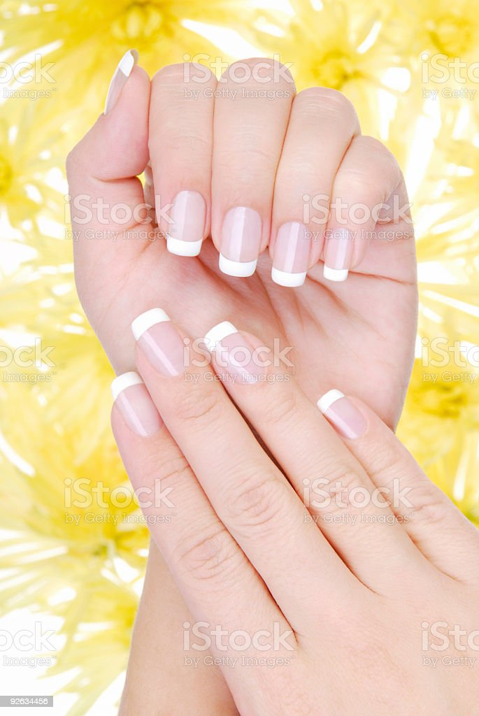 Hand model with beautiful French manicure stock photo