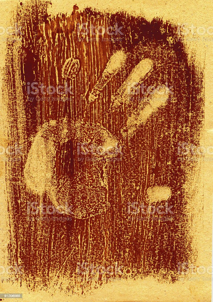 Hand Monotypy Artistic print royalty-free stock photo