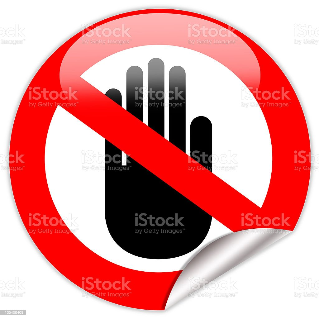 A hand no entry permitted red circle sign stock photo