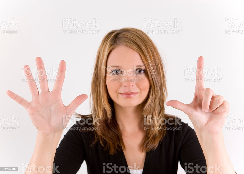 Hand Number series seven stock photo