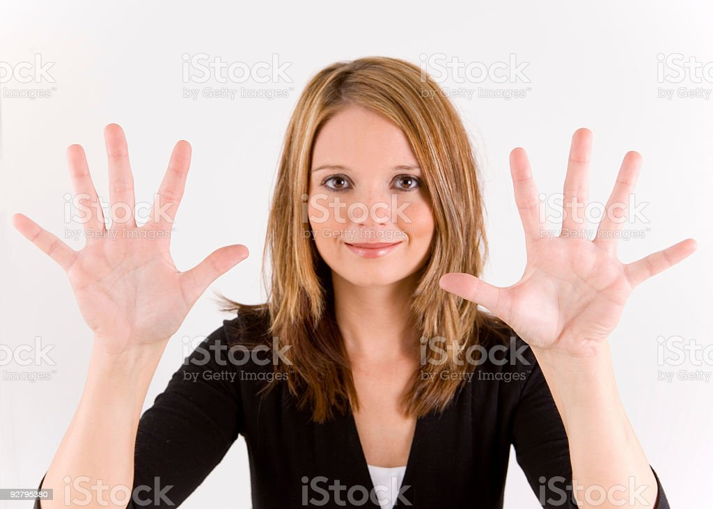 Hand Number series ten stock photo