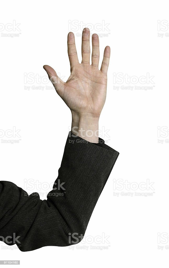 Hand of a business man raised in mid-air royalty-free stock photo