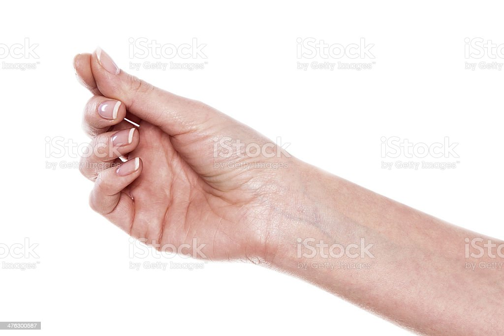 Hand of a caucasian female to hold some tiny stock photo