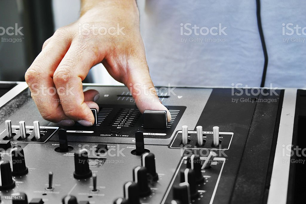 Hand of a DJ stock photo