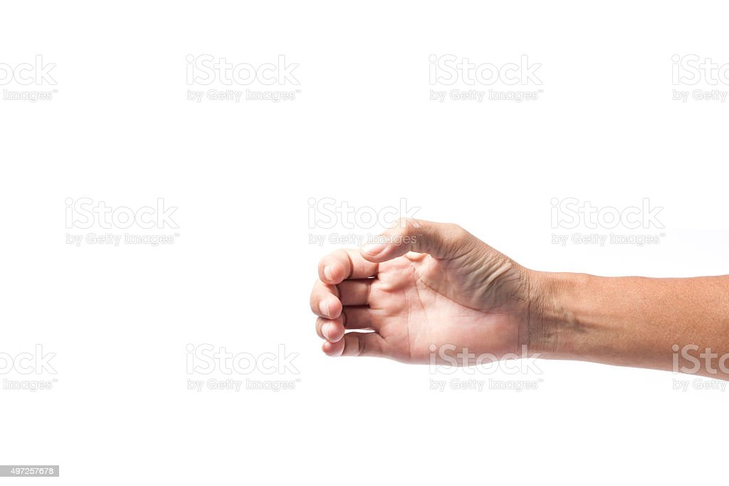Hand of a male to hold card, mobile phone stock photo