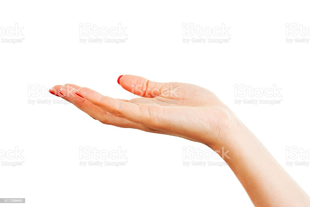 Hand of a young woman with long red nails stock photo