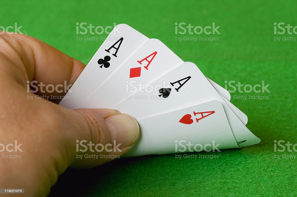 Hand of aces stock photo