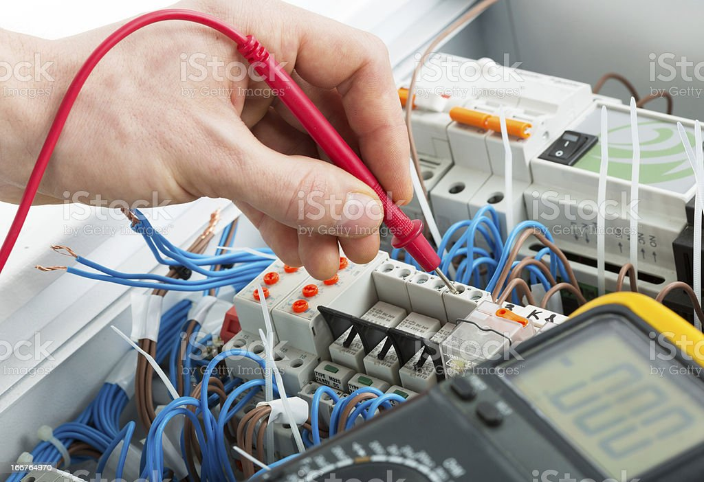 Hand of an electrician royalty-free stock photo