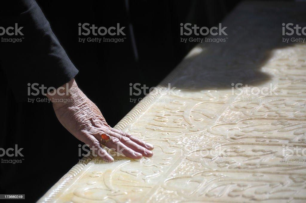 Hand of an Iranian Woman on Hafiz's Tomb, Shiraz, Iran stock photo