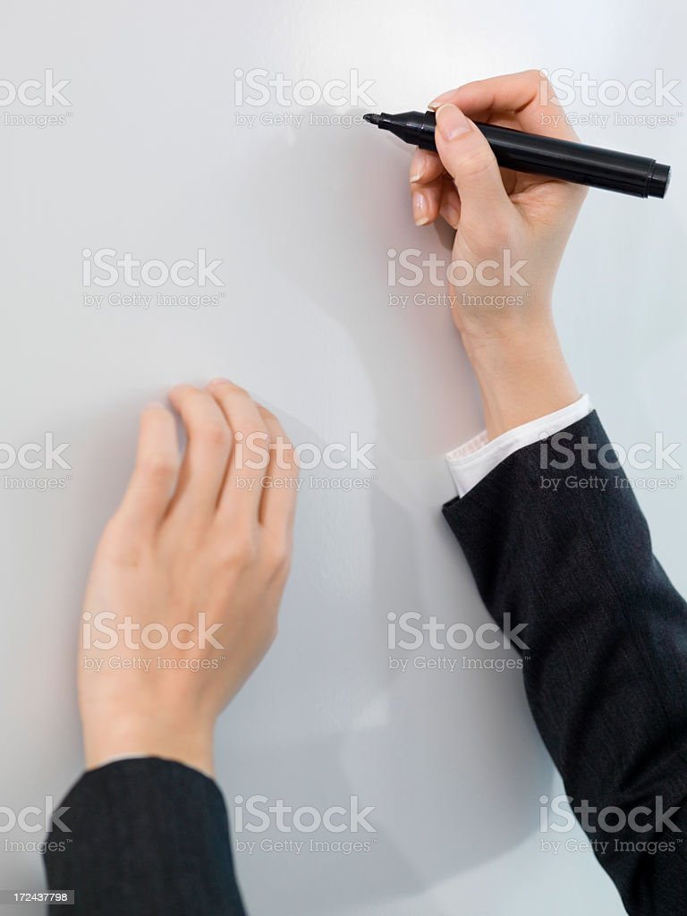 Hand of business woman writing stock photo