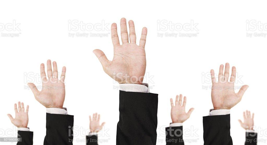 Hand of businessman raising upward, isolated on white background stock photo