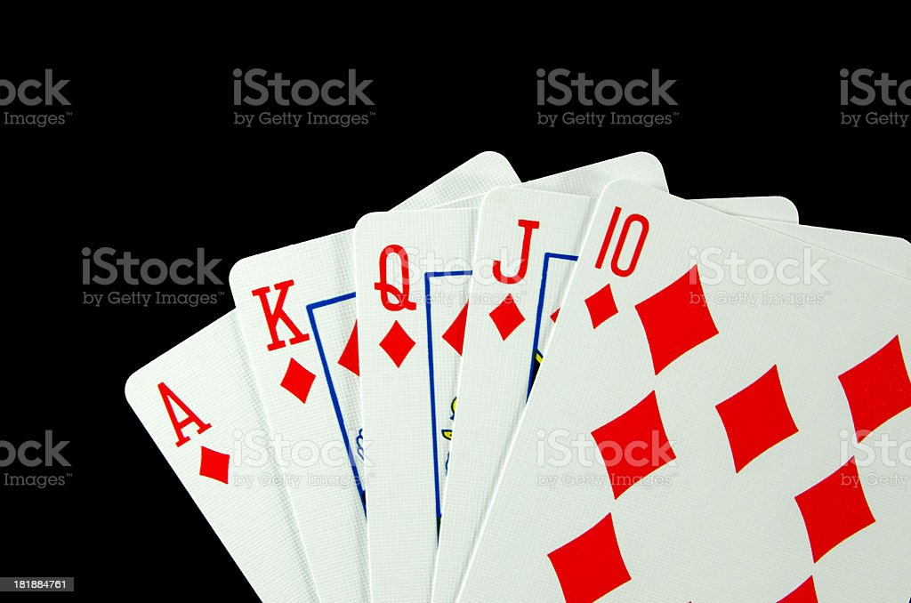 Hand of Cards...Royal  Flush royalty-free stock photo