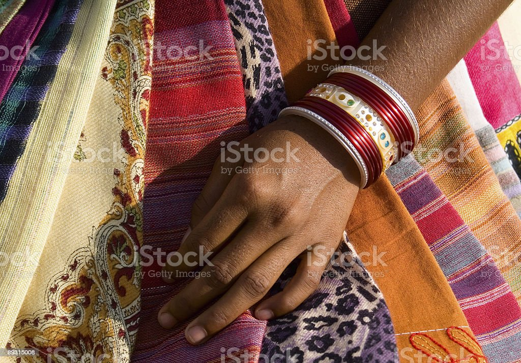 Hand of cloth seller royalty-free stock photo