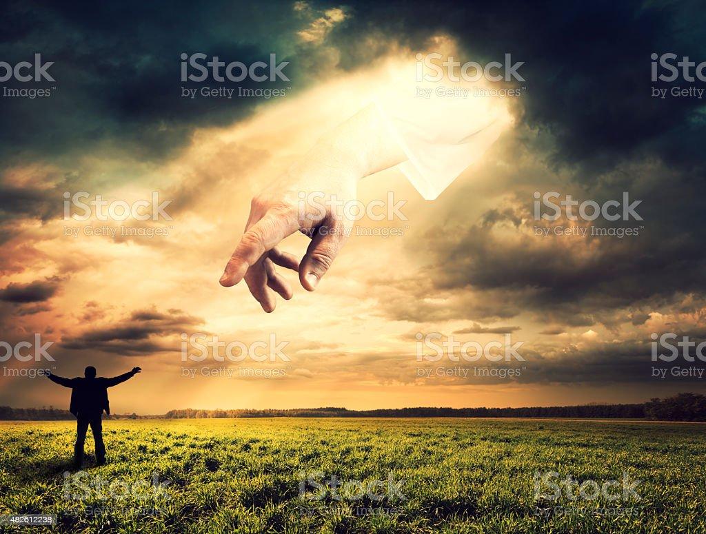 Hand of God stock photo