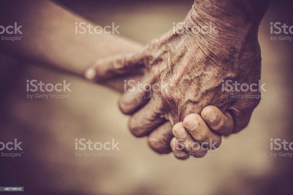 Hand of Grandmother and Grandchild stock photo