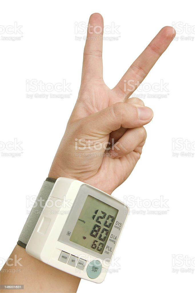 Hand of healthy person with tonometer in victory sign royalty-free stock photo