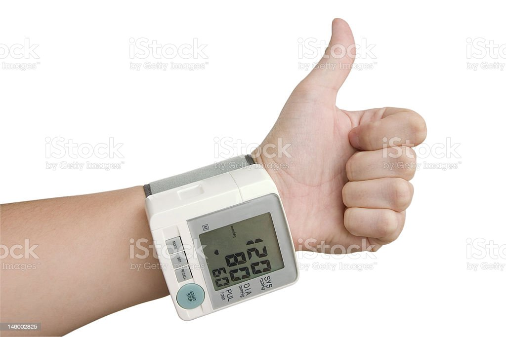 Hand of healthy person with tonometer royalty-free stock photo