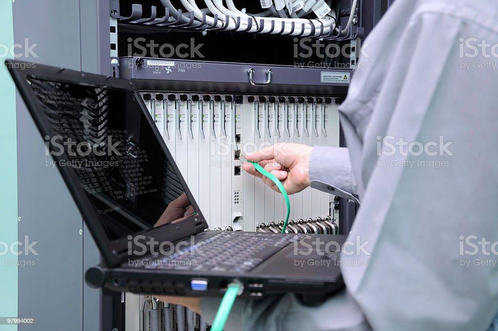 Hand of IT technician royalty-free stock photo