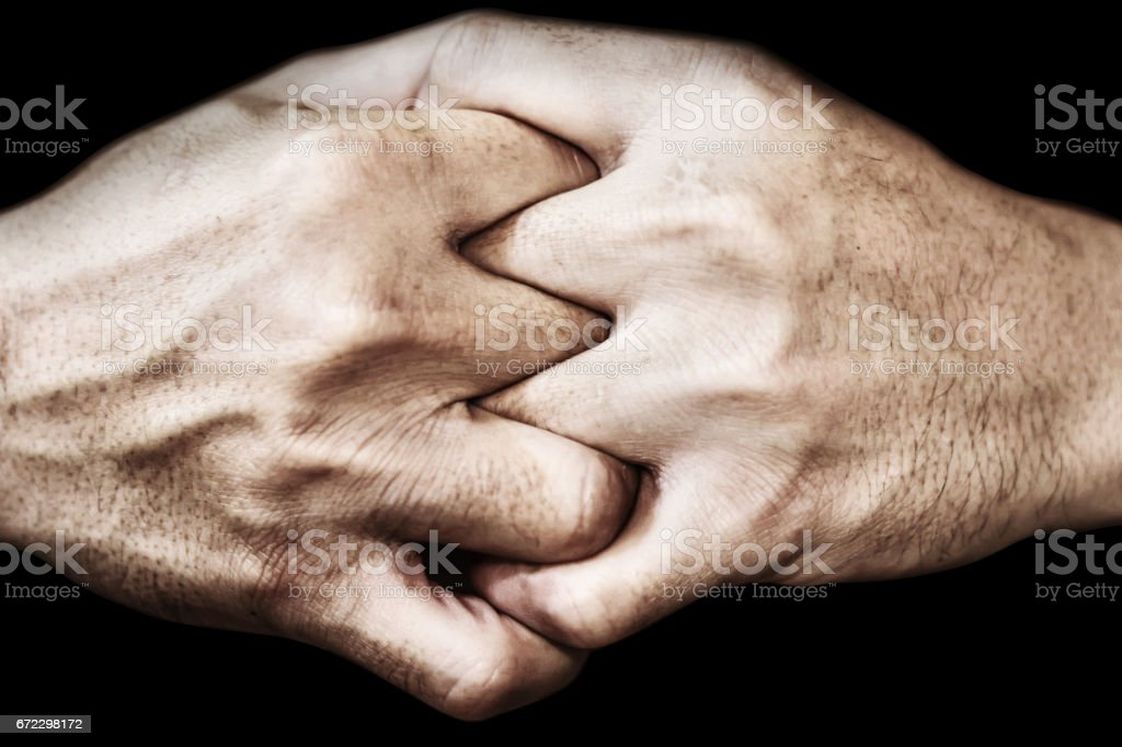 hand of man join together, adherence concept stock photo