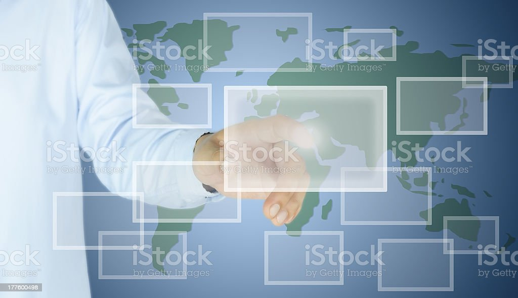 hand of man press button royalty-free stock photo