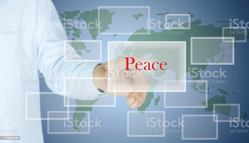 hand of man press the peace button royalty-free stock photo