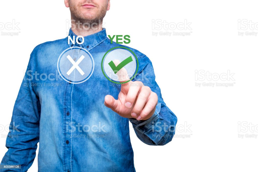 Hand of man press Yes button. Concept of decision making. Isolated on office. Stock Image stock photo