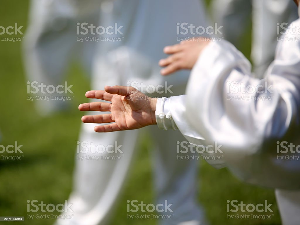 hand of martial arts master Tai Chi with followers stock photo