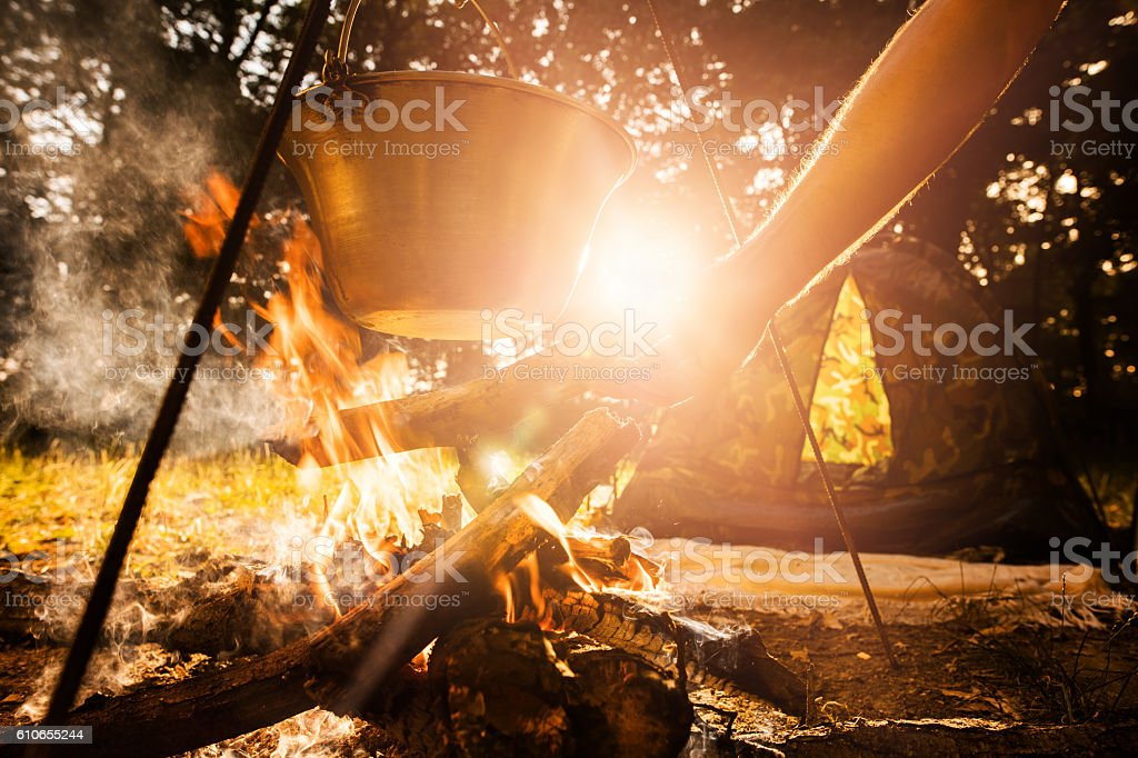 Hand of person putting wood log on campfire while cooking. stock photo