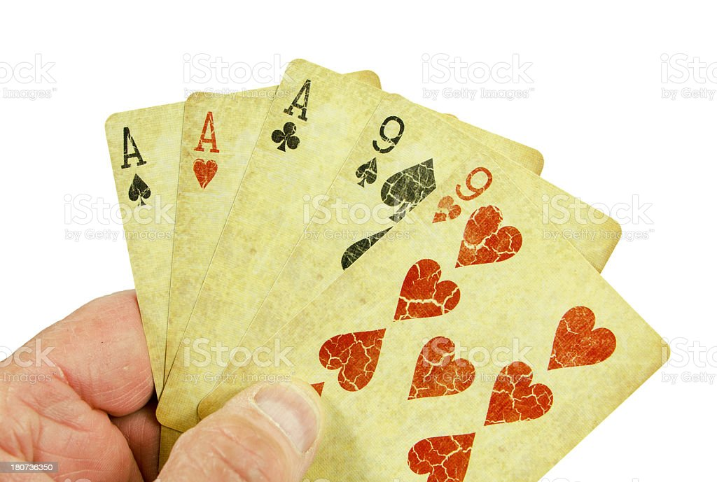 Hand of Poker Cards... Full House royalty-free stock photo