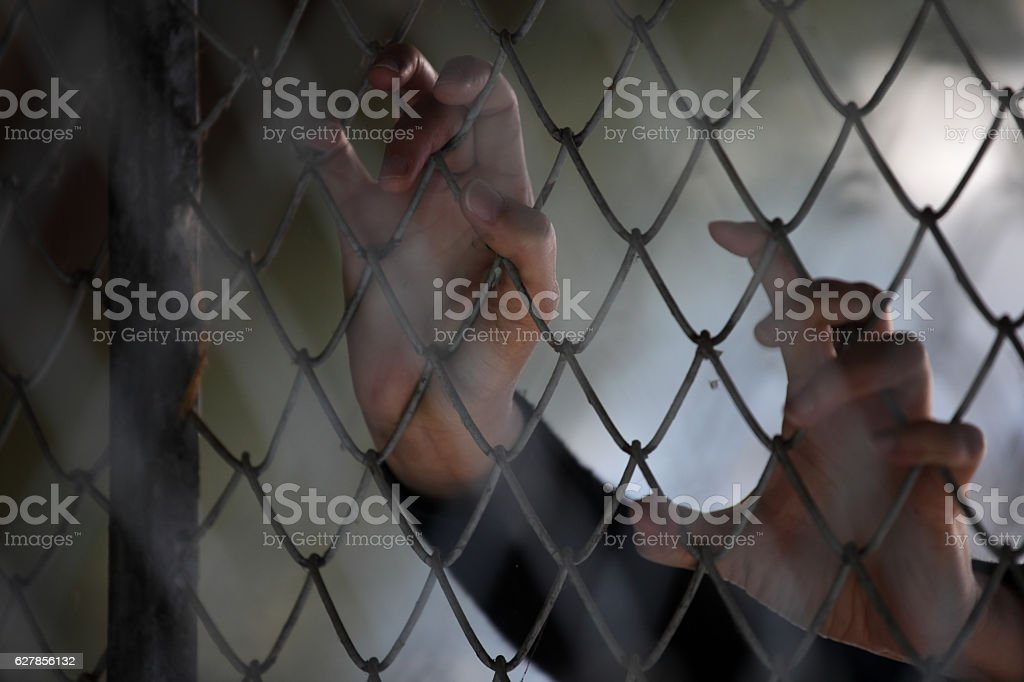 hand of prisoner in jail stock photo
