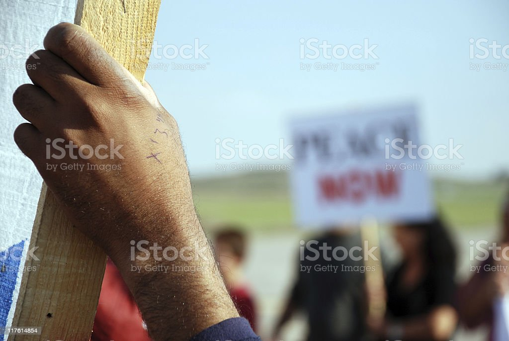 Hand of protest at Israel-Gaza border stock photo