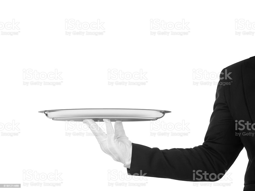 hand of the waiter in white glove stock photo