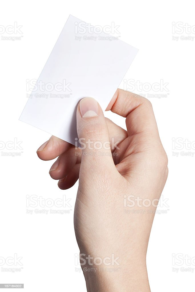 Hand of women holding blank paper label royalty-free stock photo